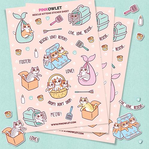 Rescue Kittens Sticker Sheet