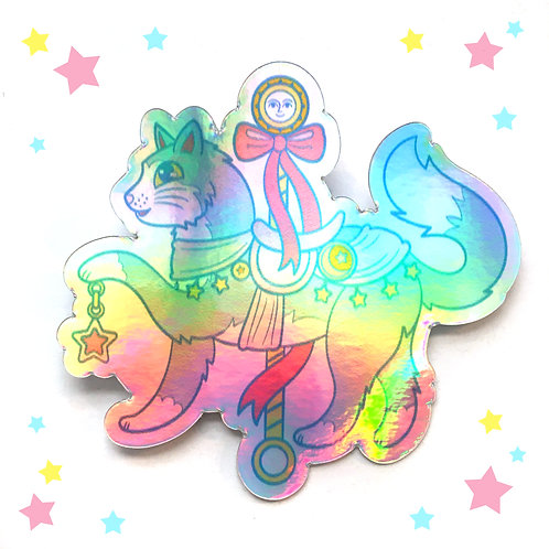 Celestial Carousel Cats Holographic Vinyl Sticker