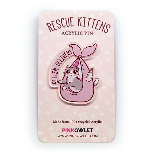 Kitten Delivery Acrylic Pin