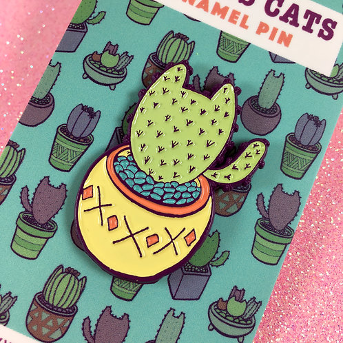 Green Cactus Cat Enamel Pin