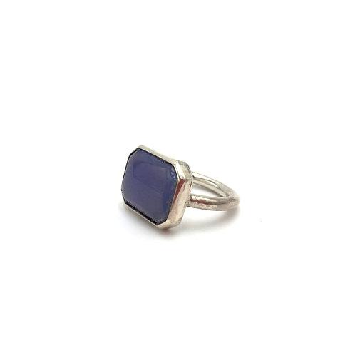 Bague - Argent et Calcédoine bleue
