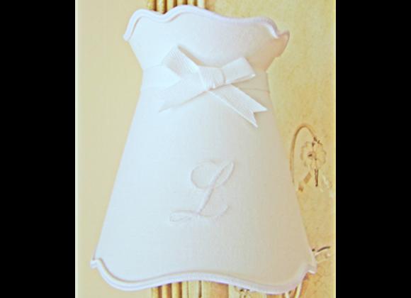 Abat-jour gustavien drap blanc brodé