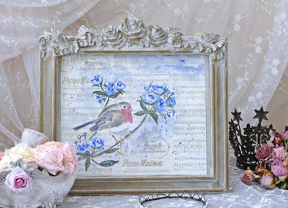 Tableau Rouge-gorge aux fleurs bleues