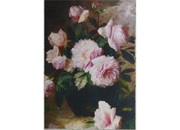 Tableau roses dans un vase