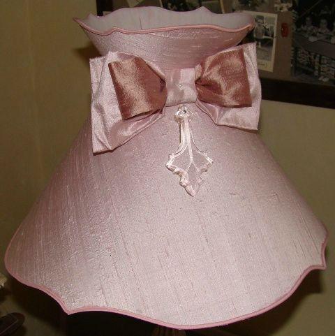 Abat-jour Gustavien soie rose