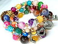 Gemstone wrap bracelet with love pendant