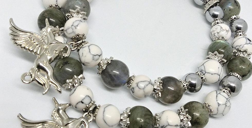 Silver Unicorn Anklet & Bracelet Set