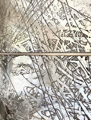 "Details of ""Broken"", polished zinc, 40"" x 48"" (100 cm x 122 cm)"