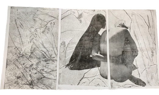 """""""She comes to me at night (and takes me in her arms)"""", rice paper"""
