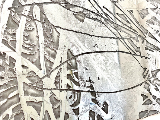 "Details of ""Broken"", polished zinc, 40"" x 48"" (100 cm x 122 cm), etching"