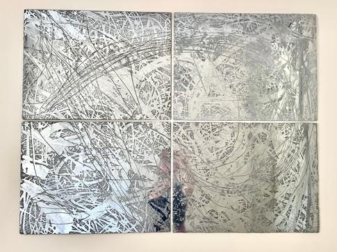 """Broken"", polished zinc, 40"" x 48"" (100 cm x 122 cm)"