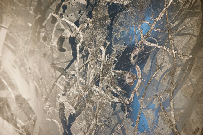 "Details of ""At Dusk"", polished zinc, 20"" x 24"" (50 cm x 60 cm)"