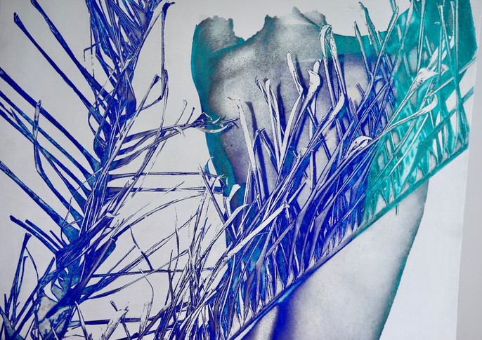 """Details of """"Lady"""", polished zinc and oil paint, 24"""" x 40"""" ( 60 cm x 100 cm)"""