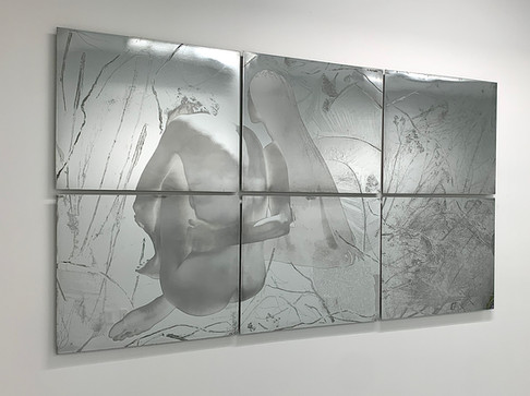 """""""She comes to me at night (and takes her in my arms)"""", polished zinc, 40"""" x 72"""" (100 cm x 183 cm), etching"""