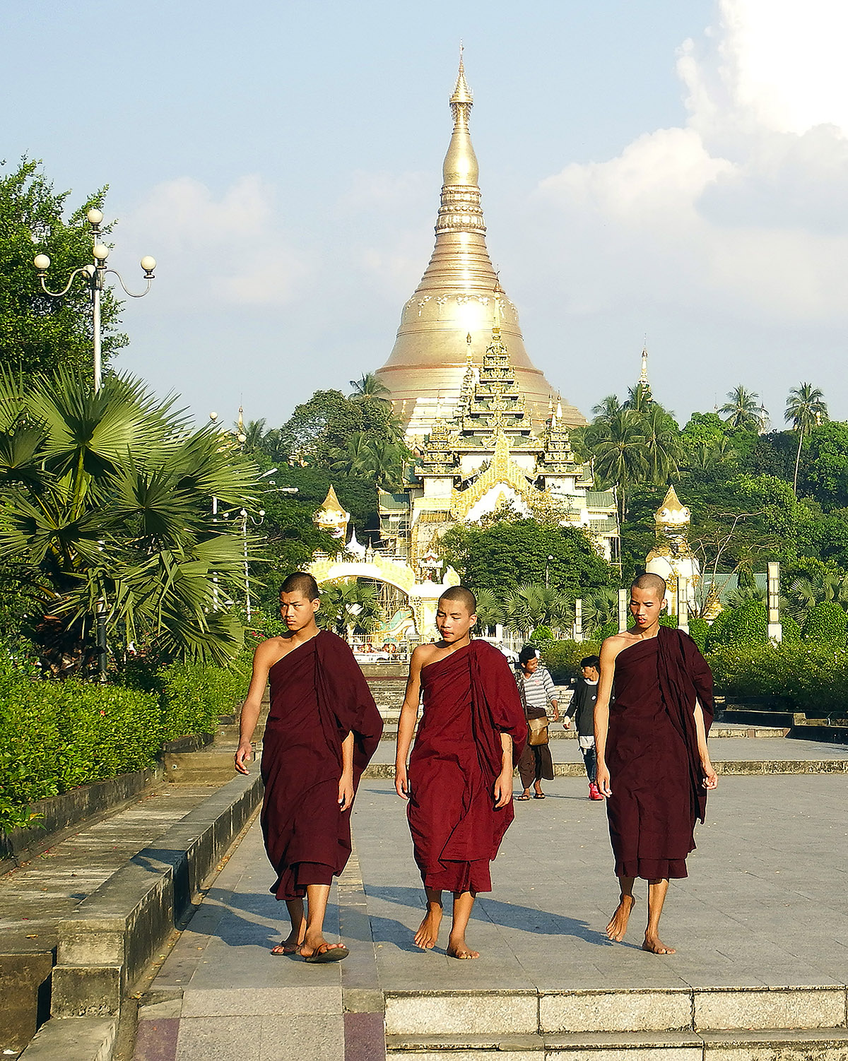 Three monks at Shwedagon Pagoda