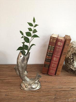 Vase poisson en métal argenté