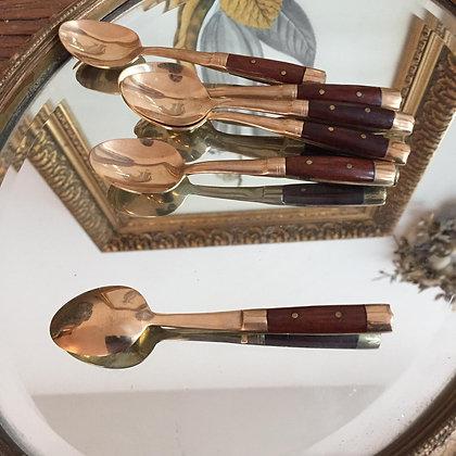 Lot de 6 petites cuillères en bronze et bois