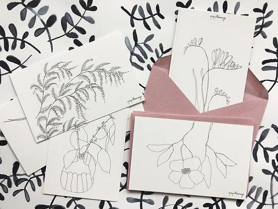 8 petites cartes fleuries