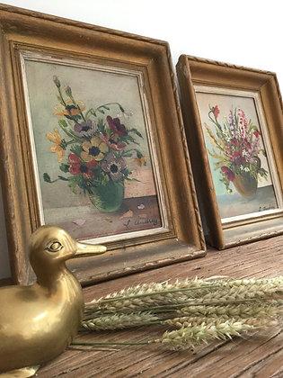 Duo peinture a l'huile fleurie