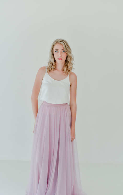 Anna Skirt (Dusty Pink) & Leah Top Satin