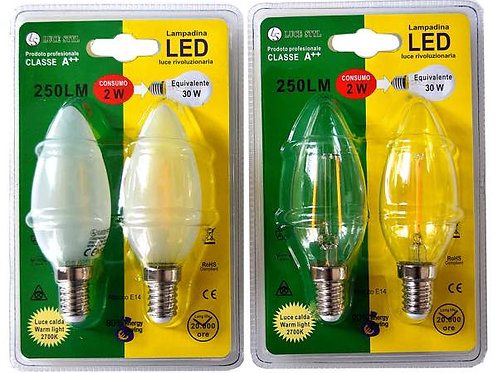 COPPIA OLIVA 2W E14 LED FILAMENT - promo da 9.50€ a 3.30€