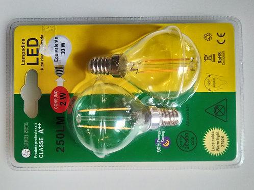 COPPIA SFERA 2W E14 LED FILAMENT - promo da 9.50€ a 3.30€