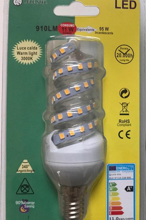 LAMPADINA LED SPIRALE 220V E14 11W