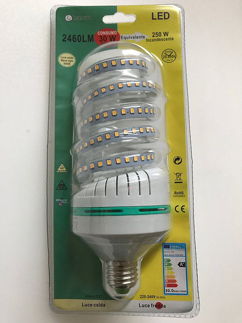 LAMPADINA LED SPIRALE 220V E27 30W