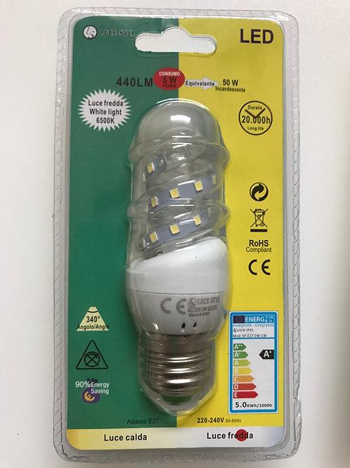 LAMPADINA LED SPIRALE 220V E27 5W