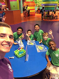 Summer campers and counselor enjoying the day at the Crayola Experience