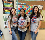 Celebrating fourth of july at the school with matching t-shirts