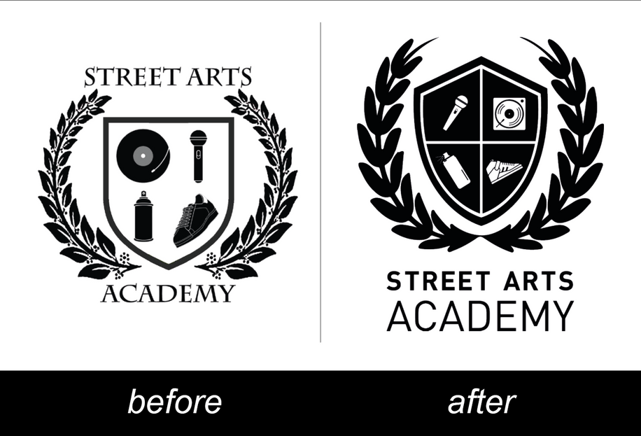 Logo Street Arts Academy before & after