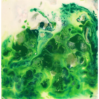 Green Water 2017 Acrylic and Resin on Canvas 8x8""