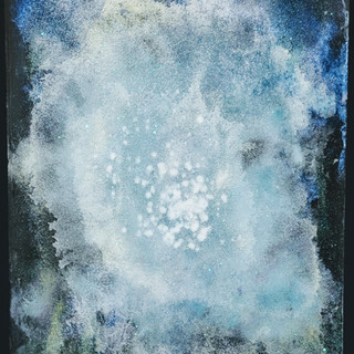 Stars Shining In The Night Sky 2019 Acrylic, Diamond Dust and Resin on Wood 10x14""