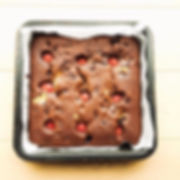 Chocolate brownies with raspberry jam, p