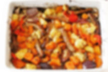 Sticky chipolatas and vegetable bake _#n