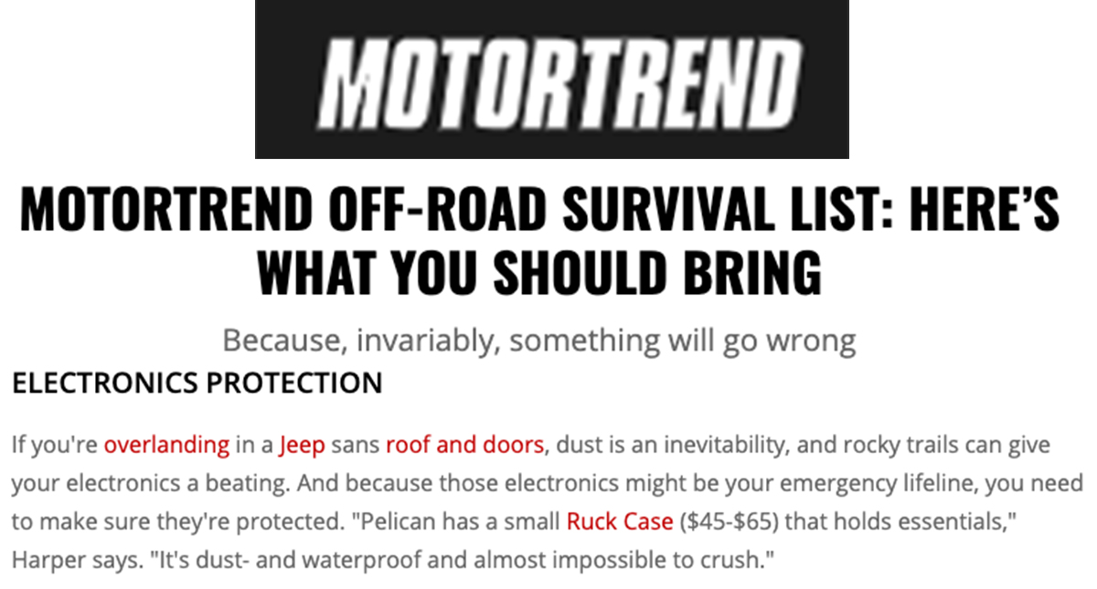 Pelican Ruck on MotorTrend 0719