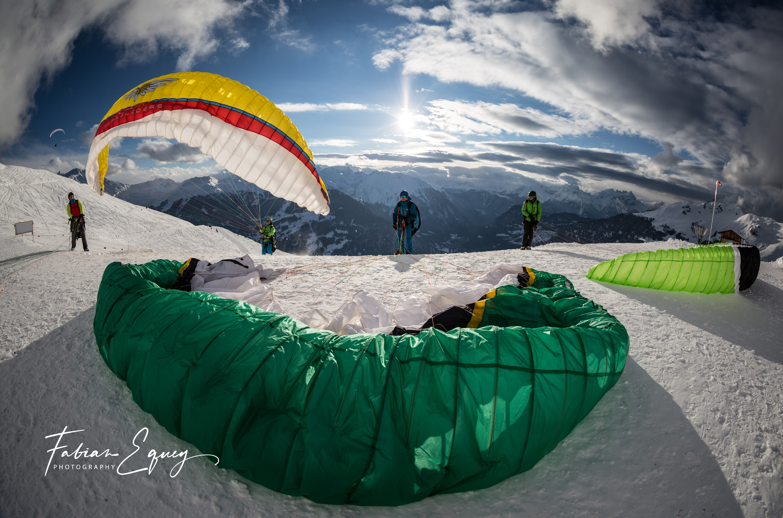 Paragliding takeoff. Verbier