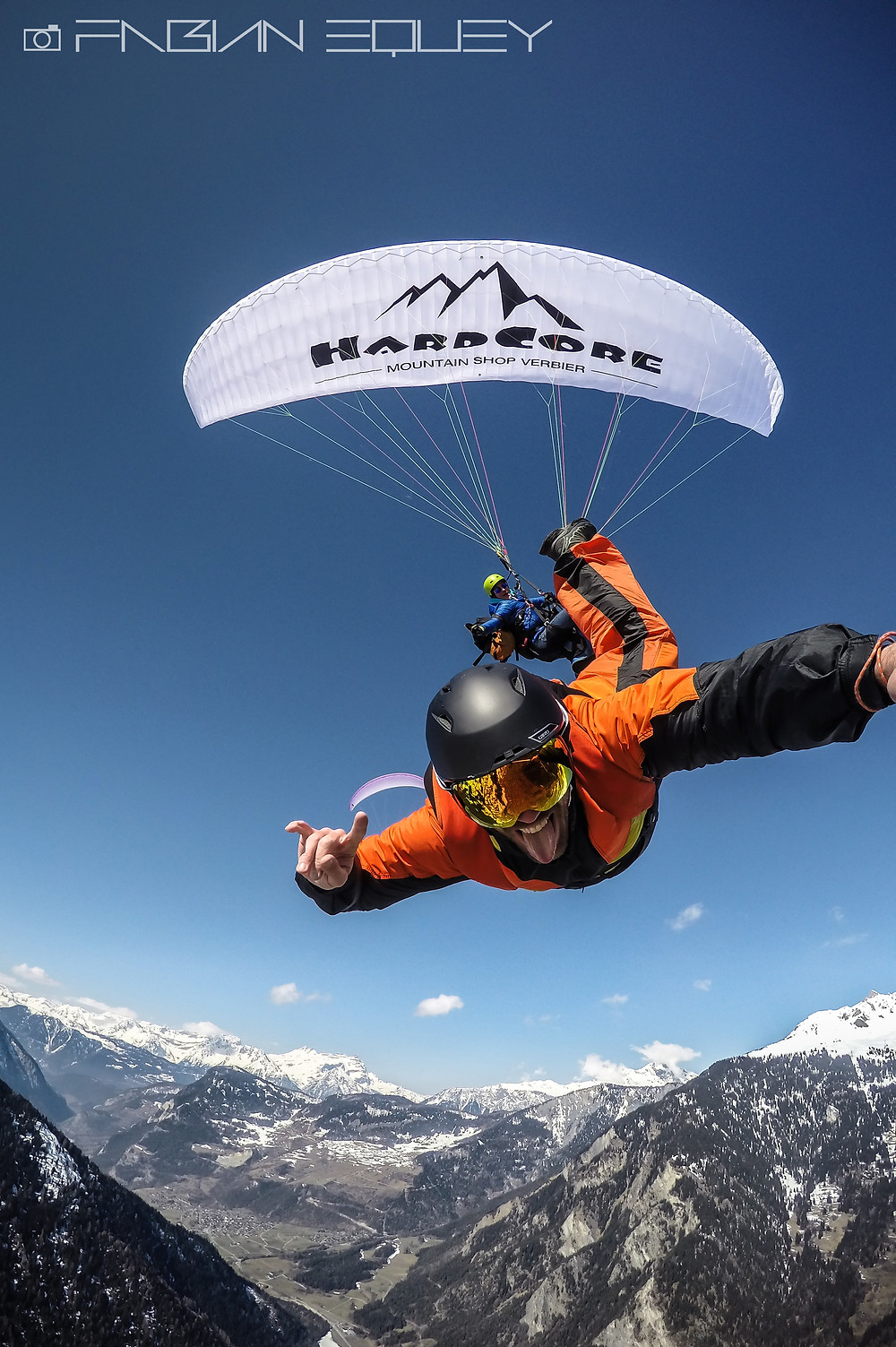 Paragliding BASE jump this morning over Verbier