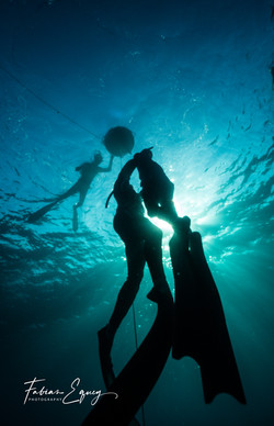 Freedivers: Bastien and student.