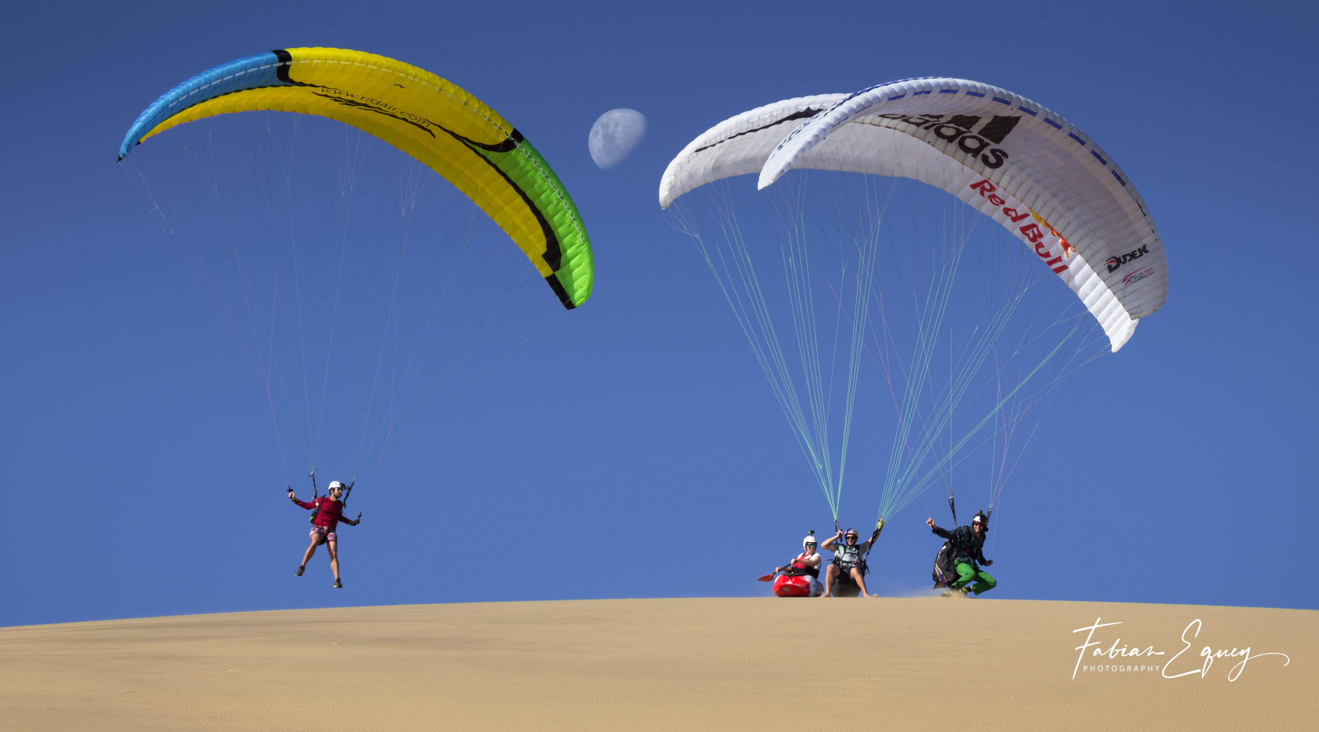 Paragliding, kayaking. Namibia