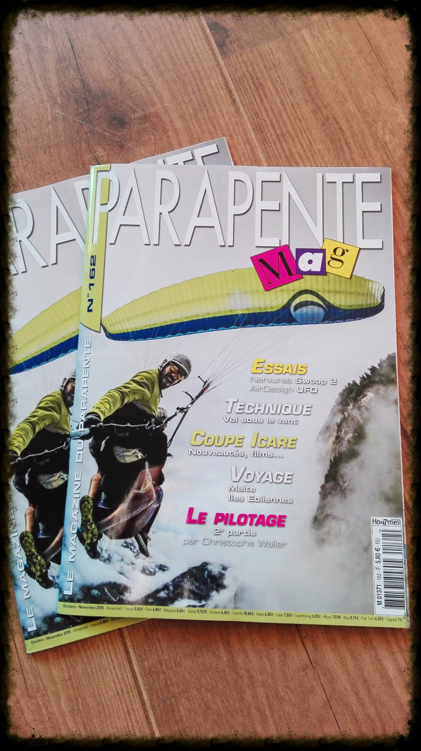 "Verbierparagliding on the ""Parapentemag"" octobre/novembre front cover."