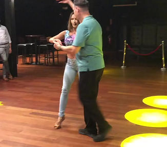 Cecilia Villalobos teaching how to dance salsa at Woodbridge in Virginia USA.