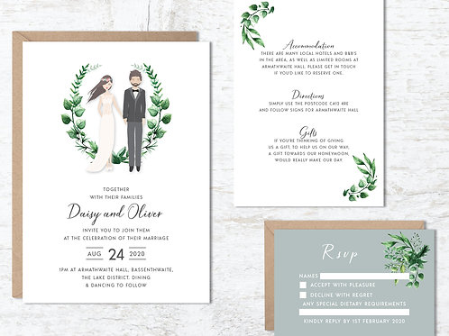 Wedding invitation portrait drawing