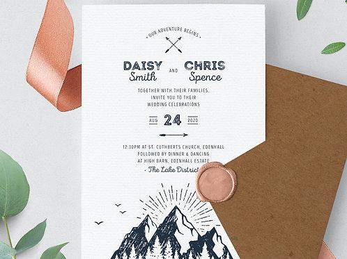 Lake district themed wedding invitation