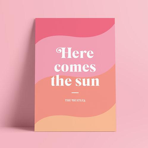 The Beatles Print, Poster, Wall Art, Here Comes the Sun Print, Music Lyrics Print, A4 Print, UK, John Lennon