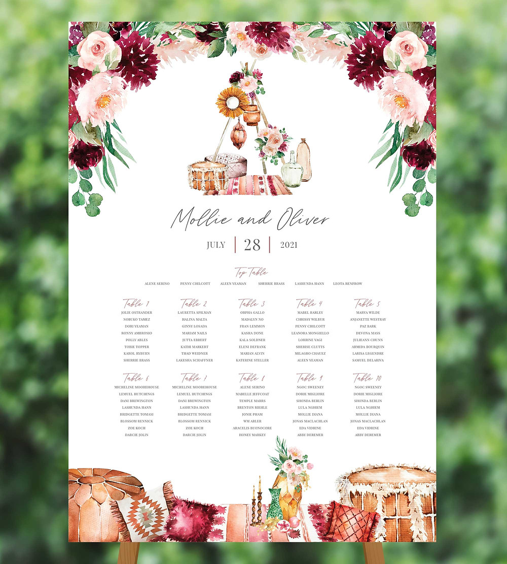 Wedding Table Plan on Mounted Board and Easel