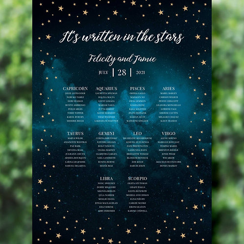 Celestial Moon and Stars Wedding Table Plan