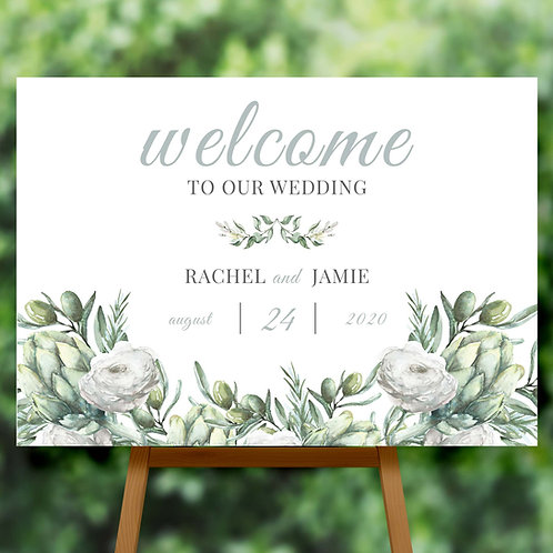 Wedding Welcome Sign with Greenery and White Flowers