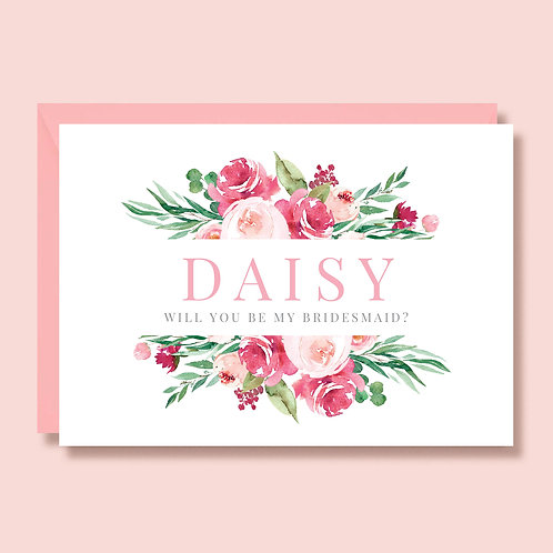 Bridesmaid Proposal Wedding Card | Will You Be My Bridesmaid | Personalised Card | Pink Floral